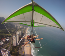 Having fun Hang Gliding over São Conrado beach